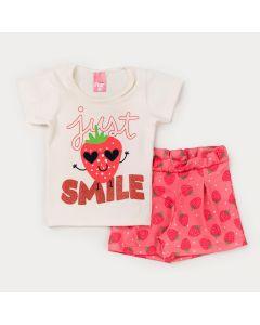 Conjunto para Menina Blusa Marfim Moranguinho e Short Rosa Estampado