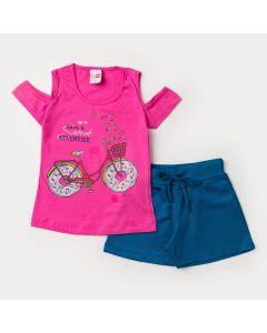 Conjunto de Verão Menina Blusa Rosa Bicicleta e Short Marinho em Moletinho