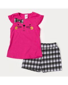 Conjunto de Verão Blusa Pink Gatinho com Laço e Short Xadrez Preto para Menina