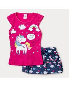 Conjunto Curto para Menina Blusa Pink Unicórnio e Short Saia Marinho Arco-Íris