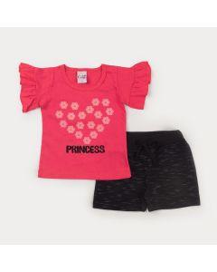 Conjunto Curto para Menina Blusa Pink Coração e Short Preto
