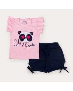 Conjunto com Blusa Rosa Panda e Short Marinho com Laço para Menina