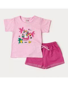 Conjunto de Verão Blusa Rosa Unicórnio e short Pink para Menina
