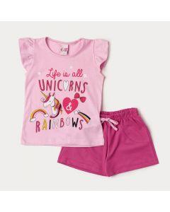 Conjunto Verão Short Pink e Blusa Rosa Unicórnio Infantil Feminino