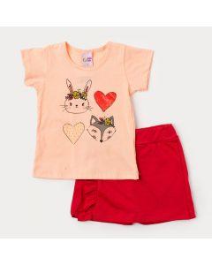 Conjunto de Verão Short Saia Vermelho e Blusa Salmão Estampada para Menina