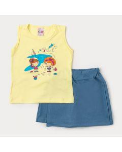 Conjunto de Verão Blusa Amarela Estampada e Short Saia Azul