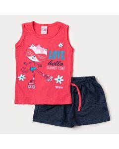 Conjunto de Verão Short Marinho e Regata Rosa Guaxinim para Menina