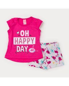 Conjunto de Verão para Menina Blusa Pink Estampada e Short Marfim Flamingo