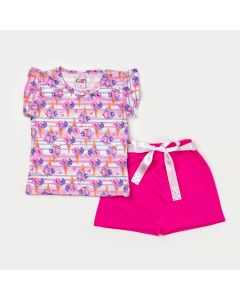 Conjunto de Verão Menina Blusa Estampada e Short Saia Rosa com Laço de Cetim