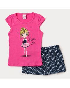 Conjunto Curto Infantil Feminino Short Saia Preto Poá e Blusa Pink Estampada