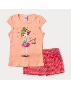 Conjunto Curto Infantil Feminino Short Saia Vermelho Poá e Blusa Salmão Estampada