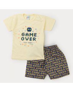 Conjunto Infantil Masculino Blusa Amarela Game e Bermuda Estampada