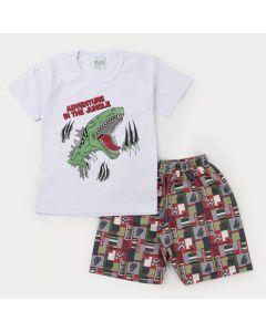 Conjunto Curto Infantil Masculino Blusa Branca Dinossauro e Bermuda Estampada