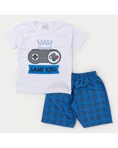 Conjunto Curto Bermuda Azul Estampada e Blusa Branca Game para Menino