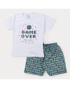 Conjunto Infantil Masculino Blusa Branca Game e Bermuda Estampada