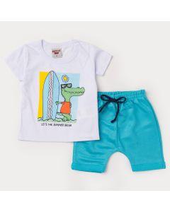 Conjunto com Blusa Branca Jacaré e Short Verde para Bebê Menino