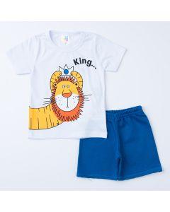 Conjunto Curto para Menino Blusa Branca Leão e Short Azul