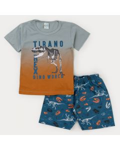 Conjunto para Menino Blusa Cinza Dinossauro e Bermuda Azul Estampada