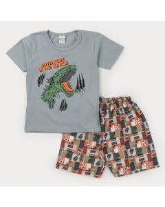 Conjunto Curto Infantil Masculino Blusa Cinza Dinossauro e Bermuda Estampada