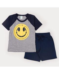 Conjunto Infantil Masculino Blusa Cinza Estampada e Short Marinho