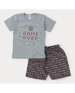Conjunto Infantil Masculino Blusa Cinza Game e Bermuda Estampada