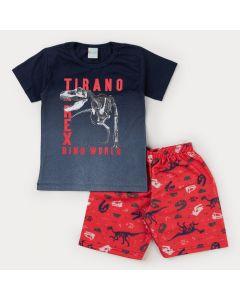 Conjunto para Menino Blusa Marinho Dinossauro e Bermuda Vermelha Estampada