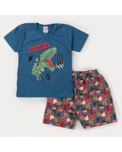 Conjunto Curto Infantil Masculino Blusa Marinho Dinossauro e Bermuda Colorida