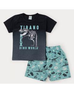 Conjunto para Menino Blusa Preta Dinossauro e Bermuda Verde Água Estampada