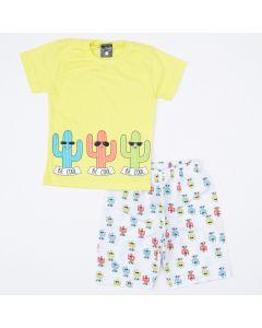 Conjunto de Verão Blusa Verde Cactos e Short Branco Estampado Menino