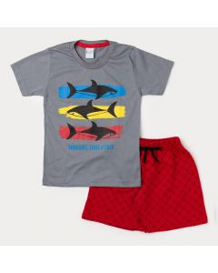 Conjunto de Verão Camiseta Masculina Cinza Tubarão e Bermuda Infantil Vermelha
