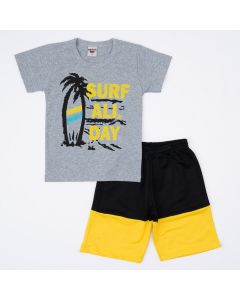 Conjunto Infantil Masculino Blusa Cinza Surf e Short Preto com Amarelo