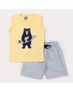 Conjunto de Verão para Menino Regata Amarela Urso e Bermuda Listrada Cinza