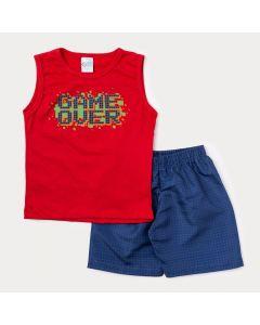 Conjunto Curto para Menino Regata Vermelha Game e Bermuda Azul Xadrez