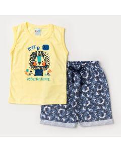 Conjunto de Roupa para Menino Regata Amarela Leão e Short Estampado Azul