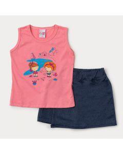 Conjunto Blusa Rosa Estampada e Short Saia Azul Marinho para Menina