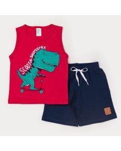Conjunto de Verão para Menino Regata Vermelha Dino e Short Marinho