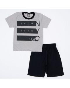 Conjunto Infantil Masculino Blusa Cinza Estampado e Short Preto