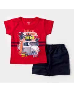 Conjunto Curto para Bebê Menino Blusa Vermelha Kombi e Short Preto