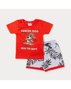Conjunto de Bebê Menino Camiseta Vermelha Cachorro e Bermuda Estampada