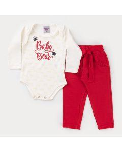 Conjunto de Frio Bebê Menina Body Marfim Estampado e Calça Vermelha com Babado