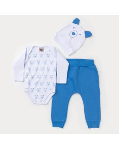 Conjunto de Frio Bebê Menino Body Branco com Touca de Ursinho e Calça Azul