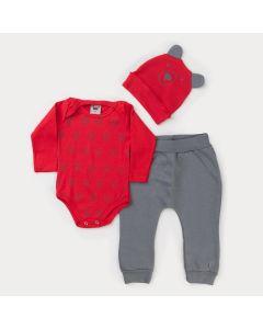 Conjunto de Frio Bebê Menino Body Vermelho com Touca de Ursinho e Calça Cinza