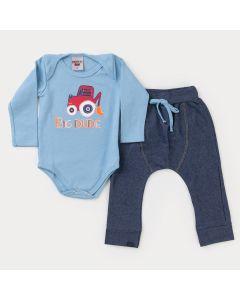 Conjunto de Inverno Bebê Menino Body Azul Trator e Calça Cotton Jeans Marinho