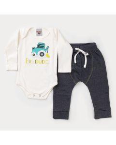 Conjunto de Inverno Bebê Menino Body Marfim Trator e Calça Cotton Jeans Preta