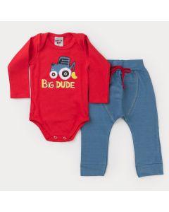 Conjunto de Inverno Bebê Menino Body Vermelho Trator e Calça Cotton Jeans Azul