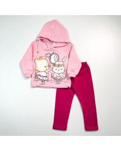 Conjunto de Inverno Bebê Menina Casaco Rosa com Capuz e Legging Pink