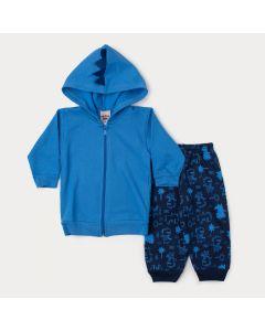 Conjunto de Inverno Bebê Menino Jaqueta Azul Dinossauro e Calça Estampada Marinho
