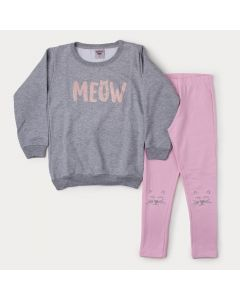 Conjunto de Inverno Infantil Feminino Blusa Cinza Estampada e Legging Rosa