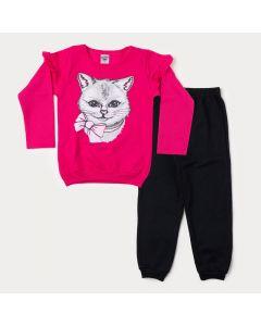 Conjunto de Inverno Infantil Feminino Blusa Pink Gato e Calça Preta
