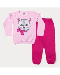 Conjunto de Inverno Infantil Feminino Blusa Rosa Gato e Calça Pink
